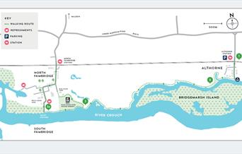 map showing althorn to fambridge walking route