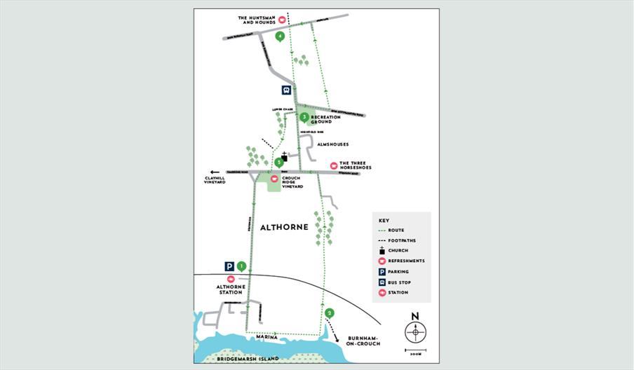walking map of around althorne