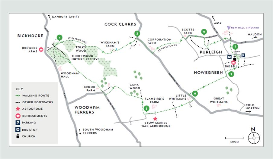 Map of Purleigh & Stow Maires walking route
